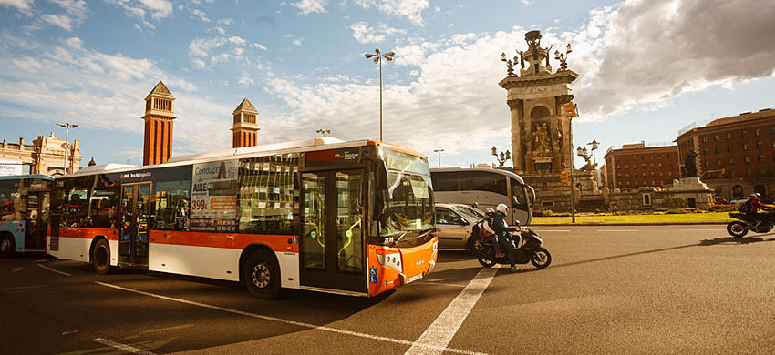 Autobus e tram a Barcellona